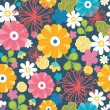 Colorful oriental flowers seamless pattern background — Stock Vector