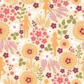 Dziewczyny wśród kwiatów wzór tła — Wektor stockowy