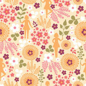 Blumen nahtlose hintergrundmuster-girls — Stockvektor