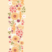 Girls among flowers vertical seamless pattern background border — Stock Vector