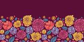 Summer flowers horizontal seamless pattern background border — Stock Vector