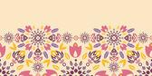 Ornamental colorful tulips horizontal seamless pattern border — Stock Vector
