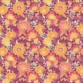 Fall flowers and leaves seamless pattern background — Stock Vector
