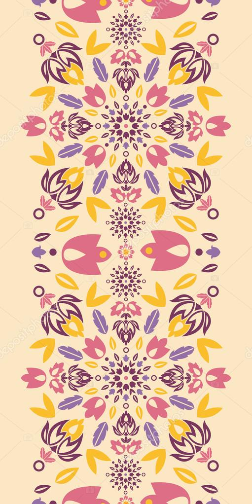 Vector ornamental colorful tulips vertical seamless pattern ornament background with ornamental tulip silhouettes. — Stock Vector #16204041