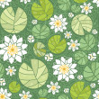Water lillies seamless pattern background - Stock Vector