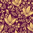 Purple wooden flowers seamless pattern background border — Imagen vectorial