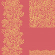 Set of golden plants seamless pattern and borders backgrounds - Stock Vector