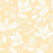 цветы желтые и белые силуэты бесшовный фон фон — Cтоковый вектор