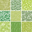 Set of nine ecological seamless patterns backgrounds - Imagens vectoriais em stock