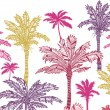 Palm trees horizontal seamless pattern background border — Stock Vector