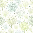 Spring trees seamless pattern background — Stock Vector