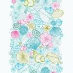 Seashells line art vertical seamless pattern background border — Stock Vector