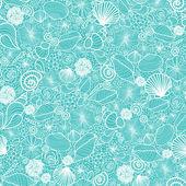 Blue seashells line art seamless pattern background — Stock Vector