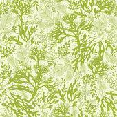 Green underwater seaweed seamless pattern background — Stock Vector