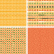 Set of four abstract stripes horizontal seamless patterns — Stock vektor