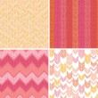 Set of four textile argyle seamless patterns backgrounds — Vector de stock