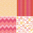 Set of four textile argyle seamless patterns backgrounds - Stock Vector