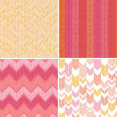 Set of four textile argyle seamless patterns backgrounds — Stock Vector