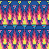 Vibrant triangles seamless pattern background — Vector de stock