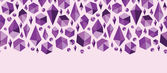 Purple geometric jewel shapes horizontal seamless pattern border — Stock vektor