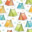 Camp tents seamless pattern background — Stock Vector