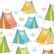 Camp tents horizontal seamless pattern background border - Imagen vectorial