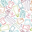 Wardrobe clothing seamless pattern background - Векторная иллюстрация