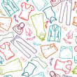 Wardrobe clothing seamless pattern background - Stock Vector