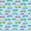 Colorful cartoon cars seamless pattern background — Stock Vector