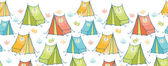 Camp tents horizontal seamless pattern background border — Stock Vector