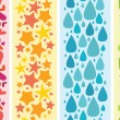 Set of four colorful horizontal seamless patterns borders — 图库矢量图片