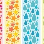 conjunto de cuatro bordes coloridos patrones sin costuras horizontales — Vector de stock