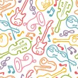 Musical instruments seamless pattern background — Stock Vector