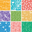 Set of nine seamless patterns backgrounds — Stock Vector