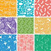 Set of nine seamless patterns backgrounds — Stok Vektör