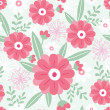 Pink flowers and green leaves seamless pattern background — Stock Vector