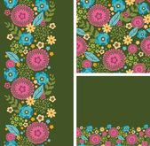 Set of vibrant summer plants seamless pattern and borders — Stock Vector