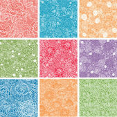 Set Of Nine Floral Lace Seamless Patterns Backgrounds — Stock Vector
