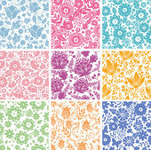 Set Of Nine Abstract Flowers Seamless Patterns Backgrounds — Stock Vector