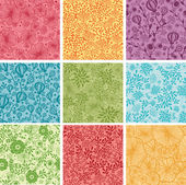 Set Of Nine Colorful Flowers Seamless Patterns Backgrounds — Stock Vector