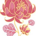 Golden and pink flower design element — Stock Vector