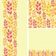 Stock Vector: Set of wheat plants seamless pattern and borders backgrounds