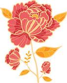 Golden and red flower design element — Stock Vector