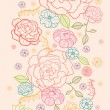 Pink roses vertical seamless pattern background border — Stock Vector