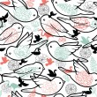 Birds silhouettes seamless pattern background - Image vectorielle