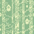 Birds houses in forest seamless pattern background — Imagens vectoriais em stock