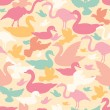 Stock Vector: Colorful birds silhouettes seamless pattern background