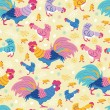 Fun chickens seamless pattern background — Stock Vector