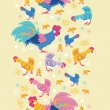 Fun chickens vertical seamless pattern background border — Stock Vector