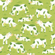Stock Vector: Cows on the field seamless pattern background